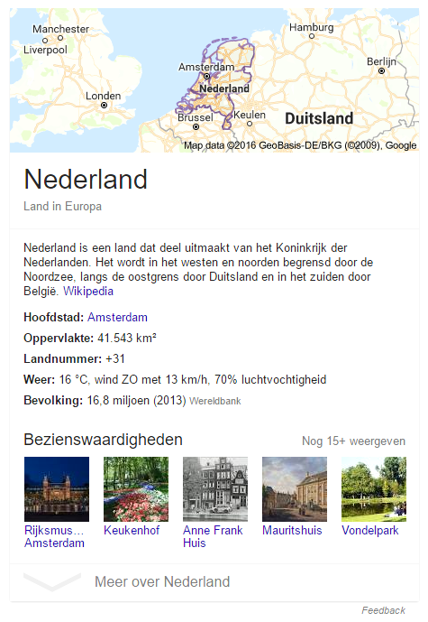 Knowledge panel in Google