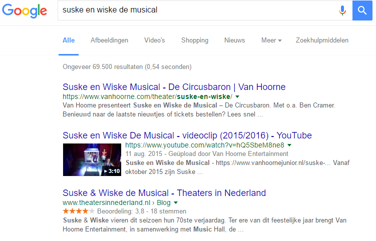 screenshot suske en wiske de musical in google