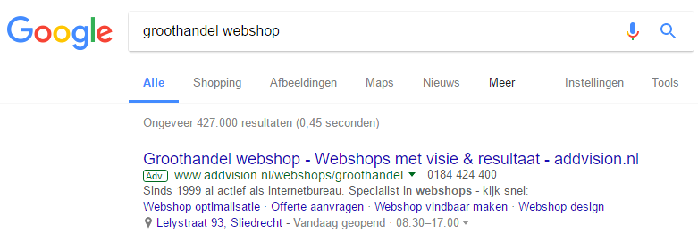 AdWords advertentie Google